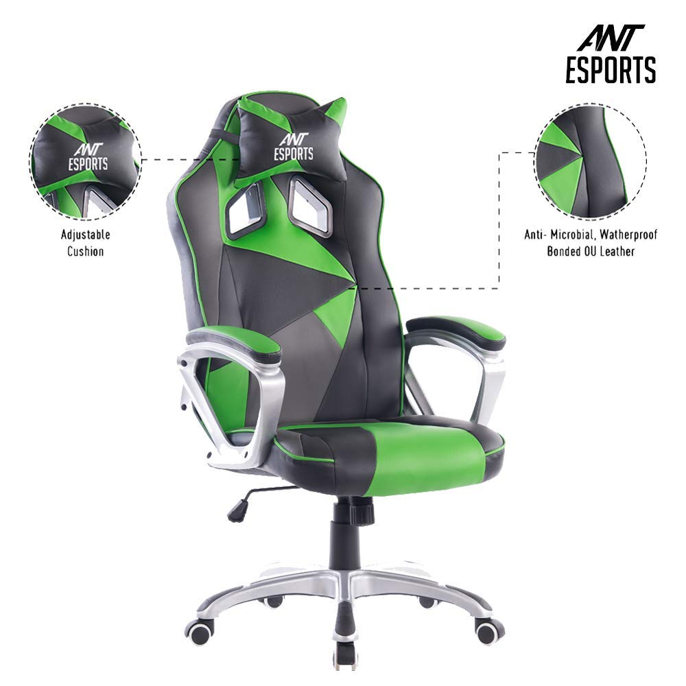 Ant Esports WB-8077 Green PU + PVC Black Metal Frame, 80mm Class 4 Gas Fit, 350mm Metal Base, Adjustable Backrest Angle 90-135 Degree Gaming Chair